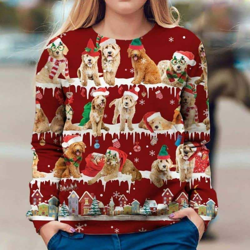 Goldendoodle Snow Christmas 3D Ugly Sweater-1