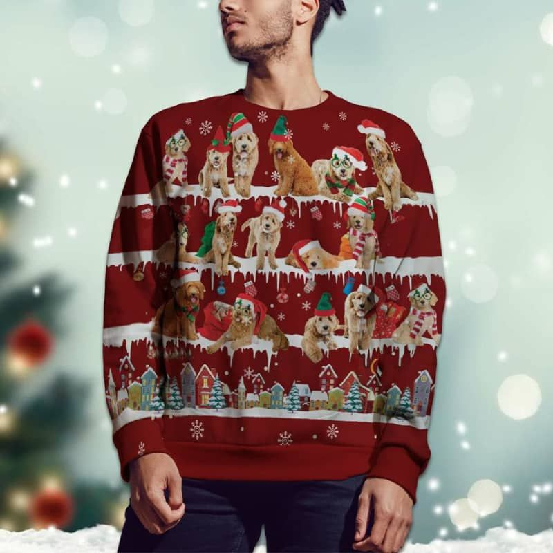 Goldendoodle Snow Christmas 3D Ugly Sweater-2