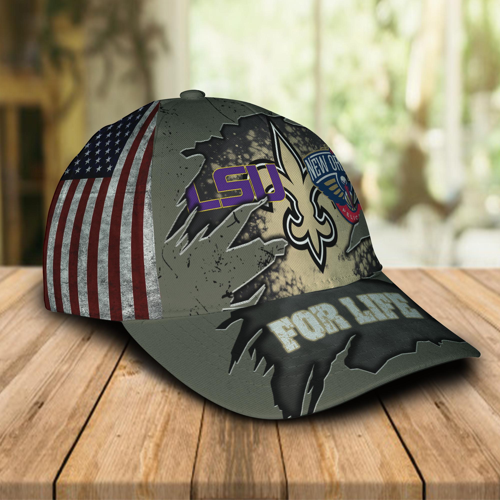 New Orleans Saints New Orleans Pelicans LSU Tigers For Life Hat Cap -1