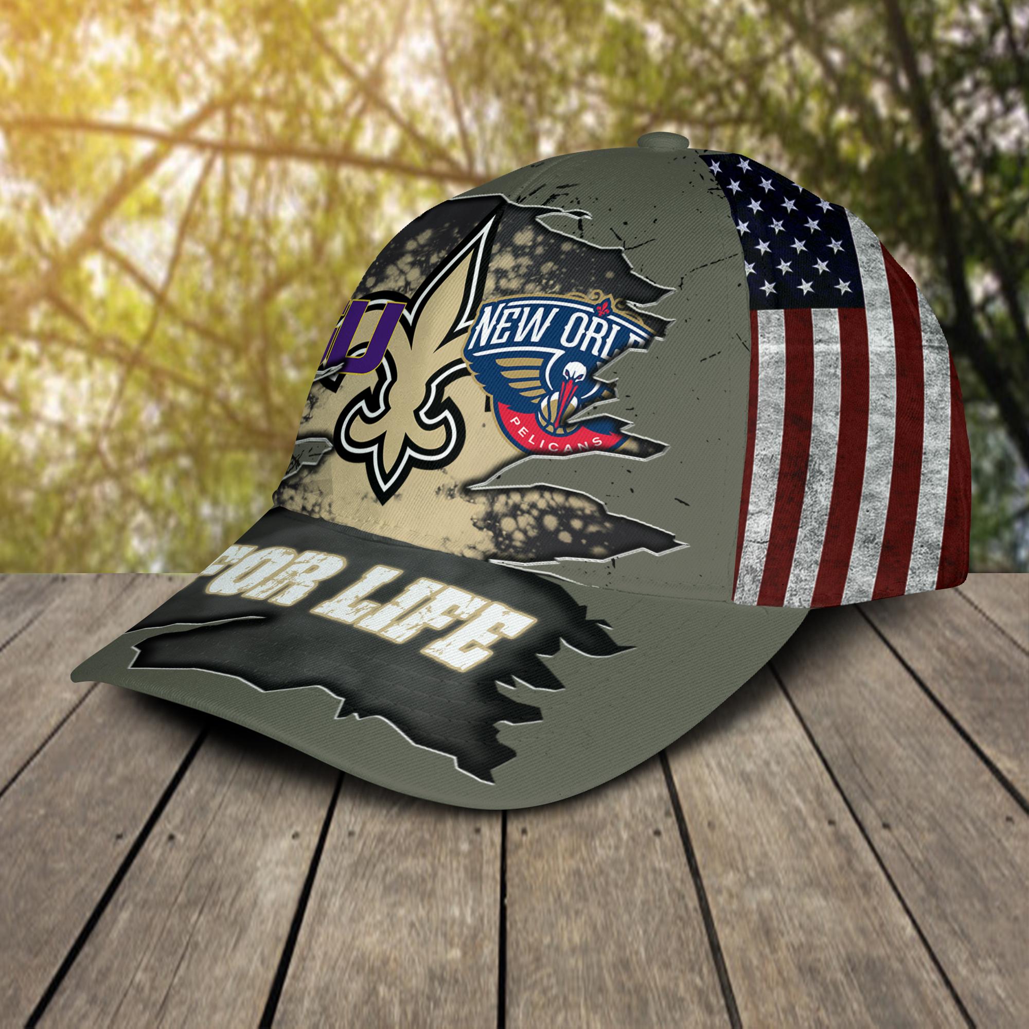 New Orleans Saints New Orleans Pelicans LSU Tigers For Life Hat Cap -2