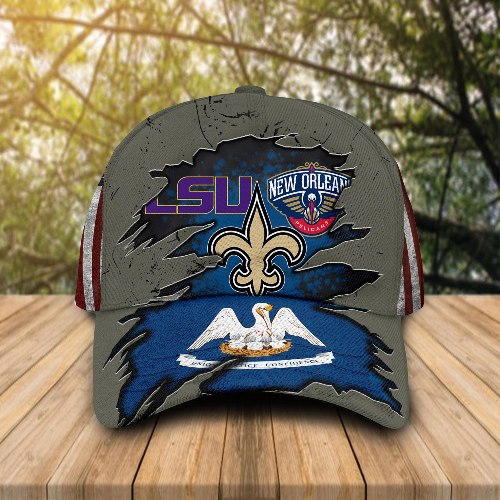 New Orleans Saints, New Orleans Pelicans, LSU Tigers Sports Teams Cap