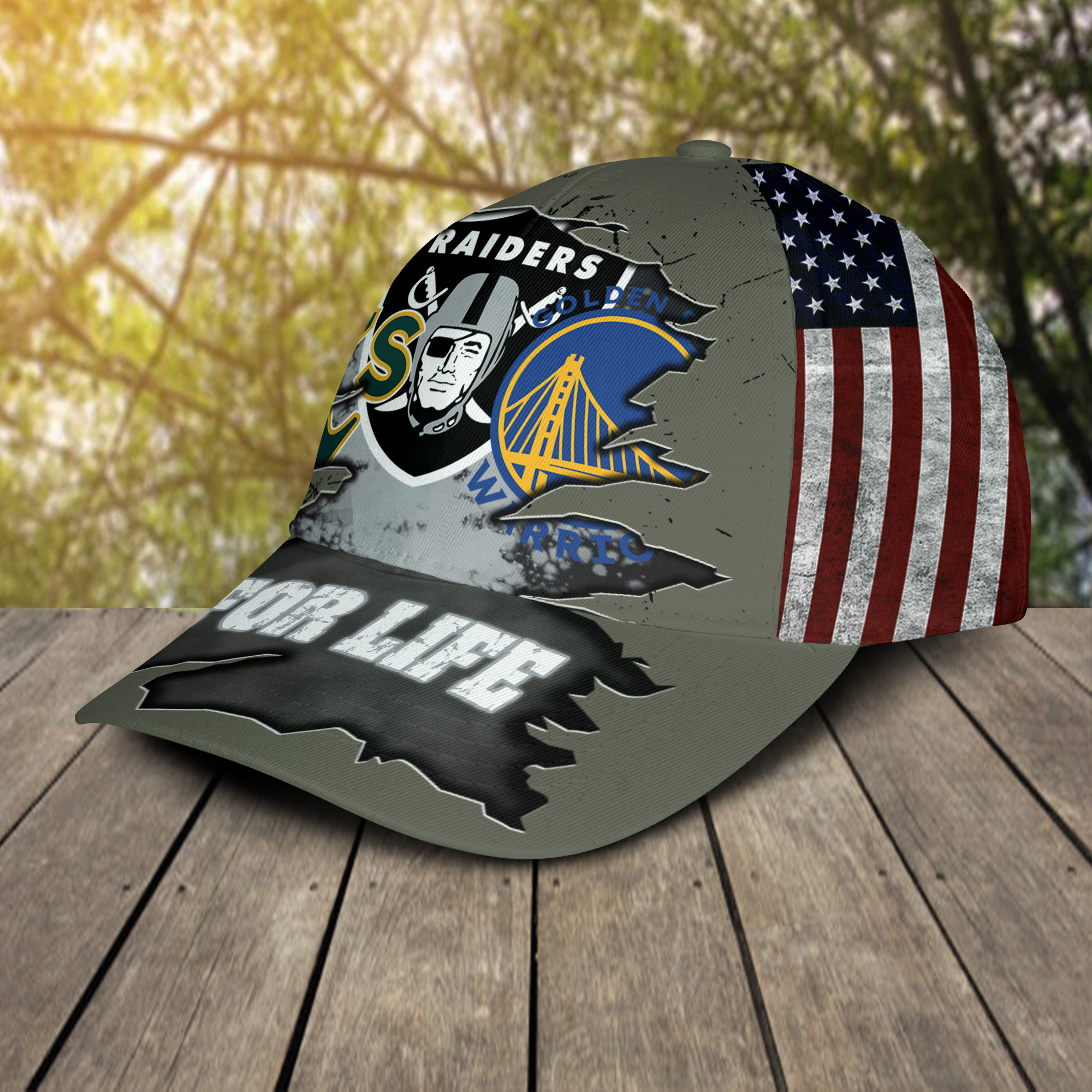 Oakland Athletics Oakland Raiders Golden State Warriors For Life Hat Cap-2