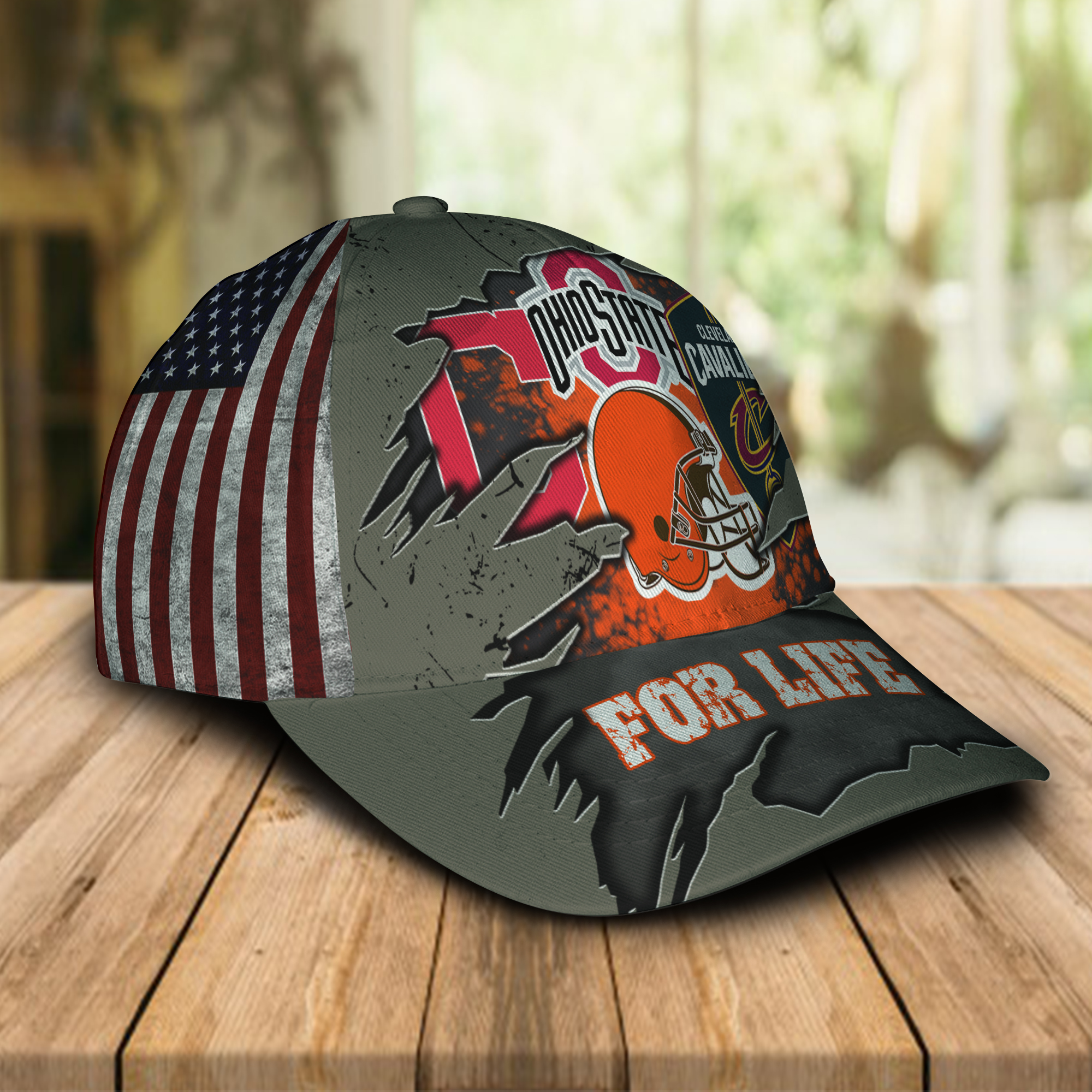 Ohio State Buckeys Cleveland Cavaliers Cleveland Indians Cleveland Browns For Life Cap Hat -1