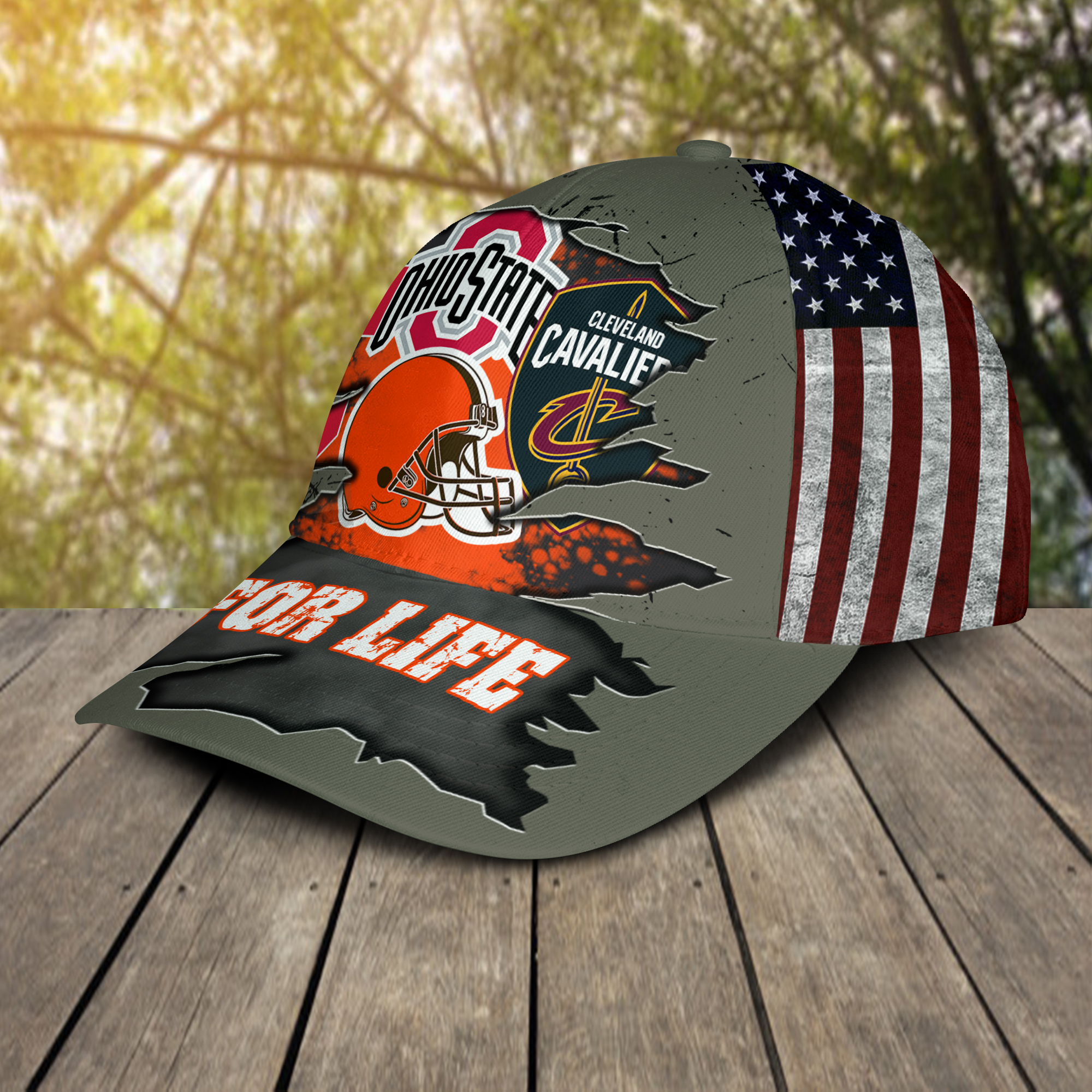 Ohio State Buckeys Cleveland Cavaliers Cleveland Indians Cleveland Browns For Life Cap Hat -2