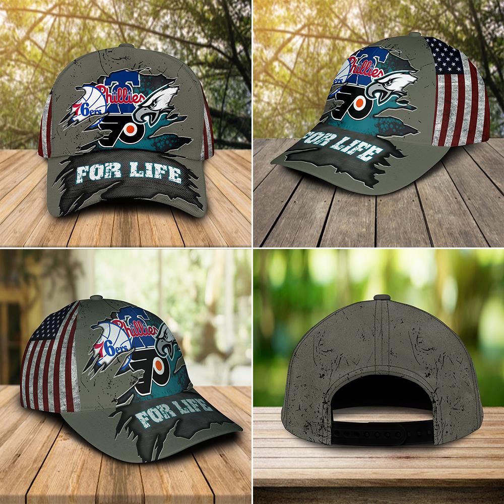 Philadelphia Eagles, Flyers, 76ers, Phillies For Life Cap
