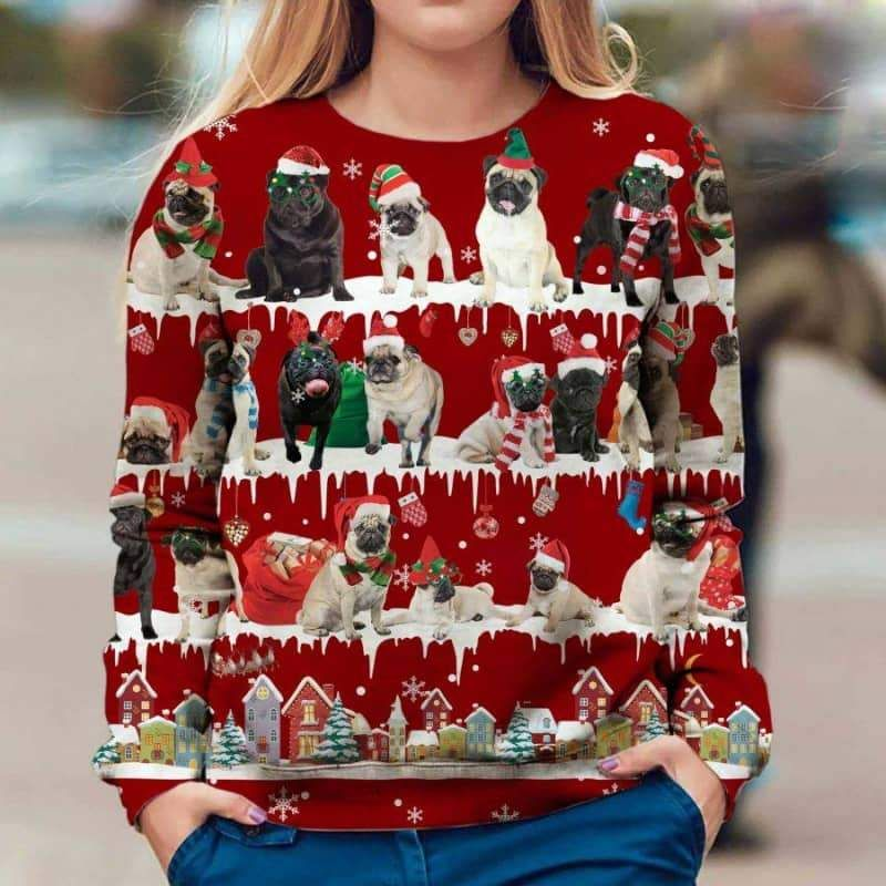 Pug Snow Christmas 3D Ugly Sweater-1