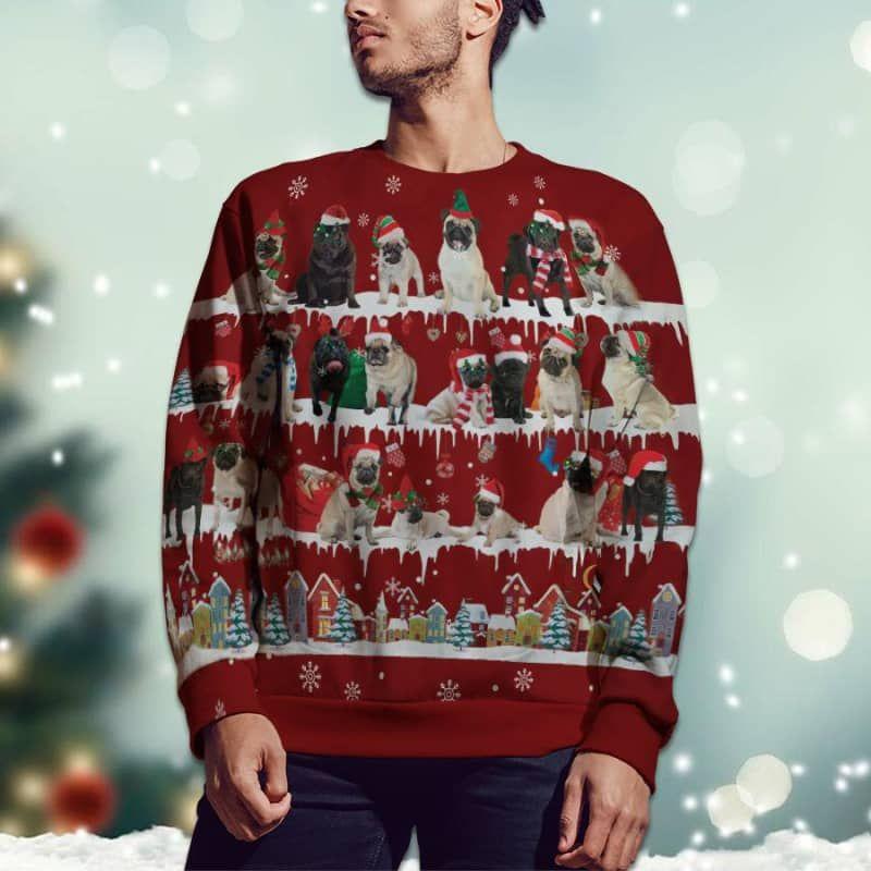 Pug Snow Christmas 3D Ugly Sweater-2