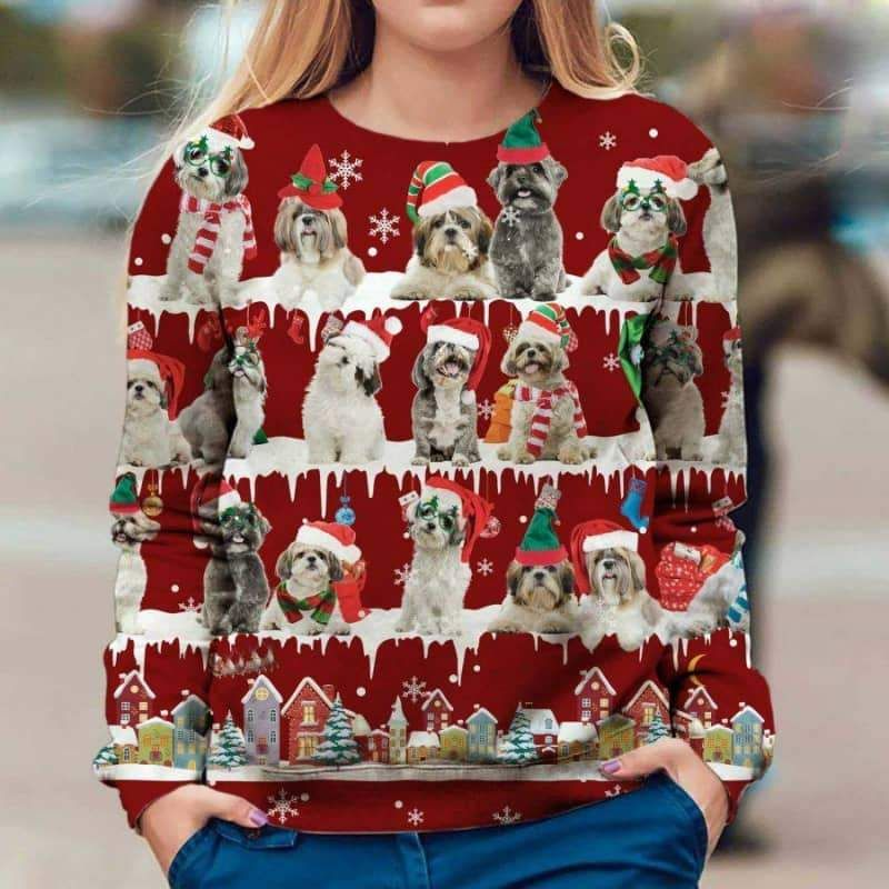 Shih Tzu Snow Christmas 3D Ugly Sweater-1