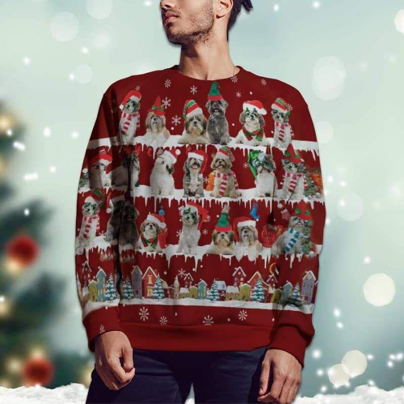 Shih Tzu Snow Christmas 3D Ugly Sweater-2