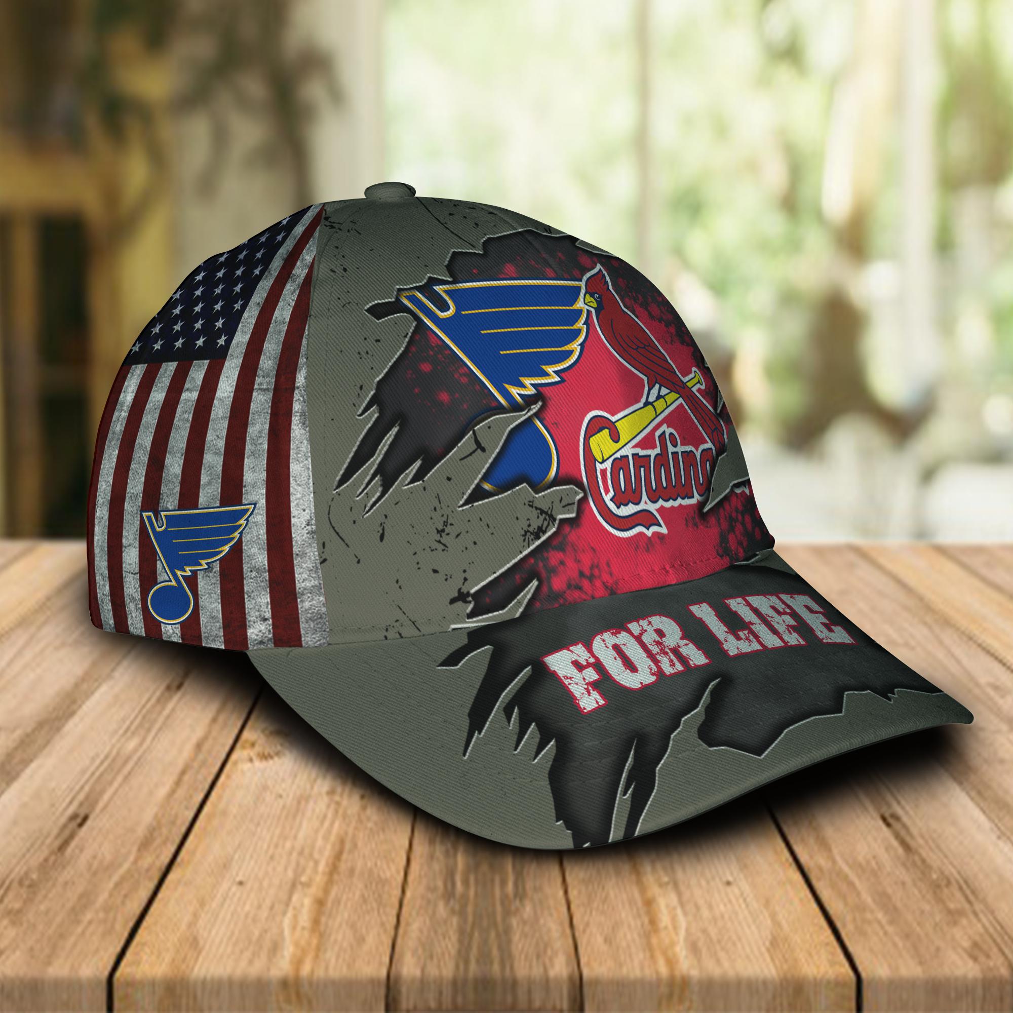 St. Louis Cardinals St. Louis Blues For Life Cap Hat-1