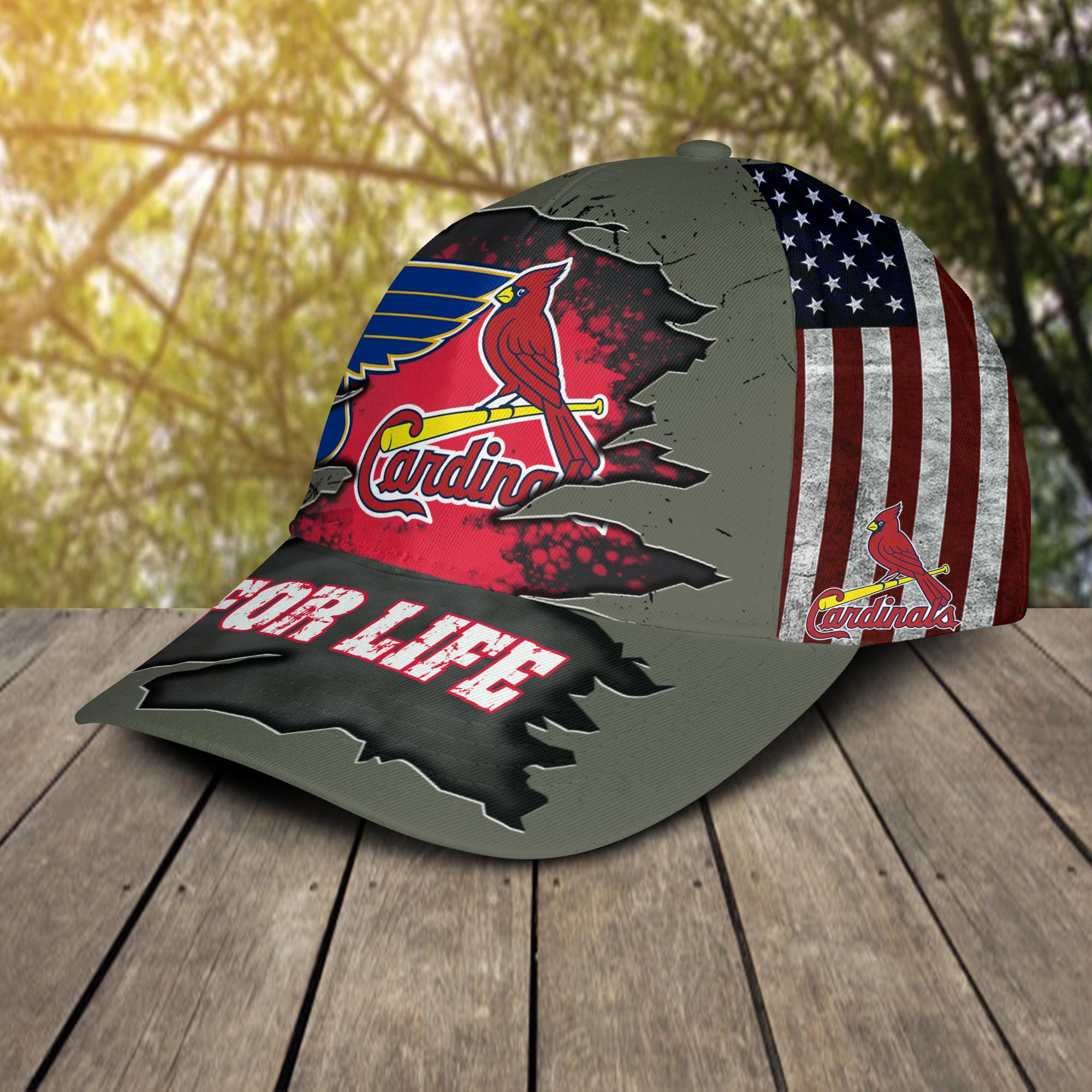 St. Louis Cardinals St. Louis Blues For Life Cap Hat-2