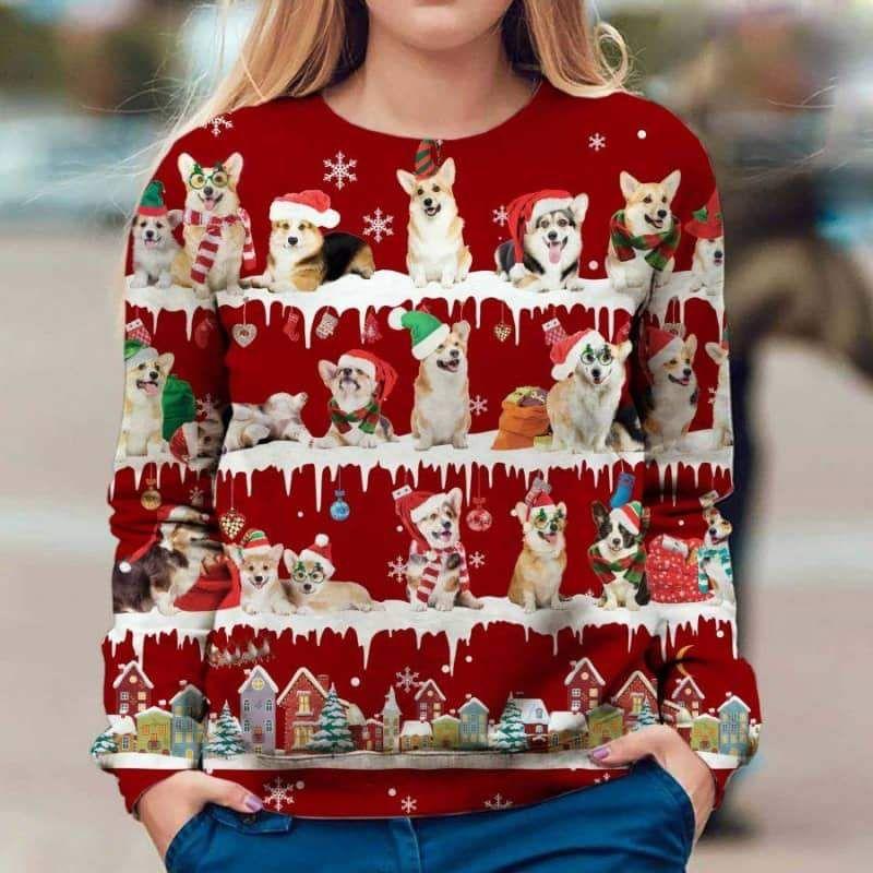 Welsh Corgi Snow Christmas 3D Ugly Sweater-1
