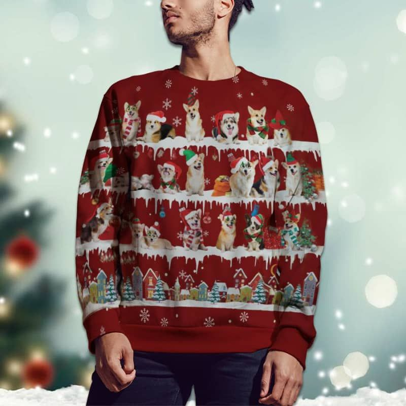 Welsh Corgi Snow Christmas 3D Ugly Sweater-2