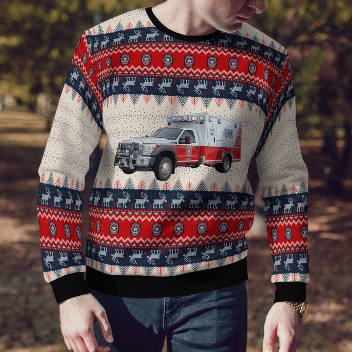 Williamson-County-TX-EMS-Ford-F-450-Wheeled-Coach-Ambulance-Ugly-Christmas-Sweater-1