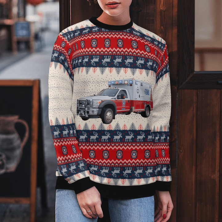 Williamson-County-TX-EMS-Ford-F-450-Wheeled-Coach-Ambulance-Ugly-Christmas-Sweater-2