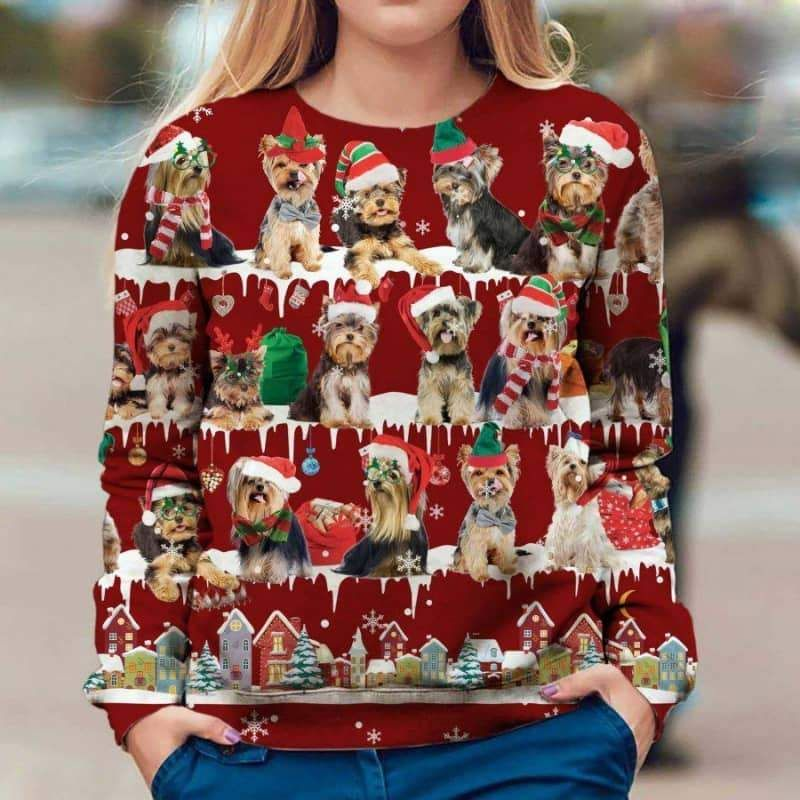 Yorkshire Terrier Snow Christmas 3D Ugly Sweater-1
